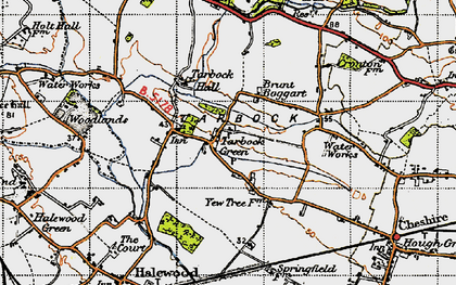 Old map of Tarbock Green in 1947