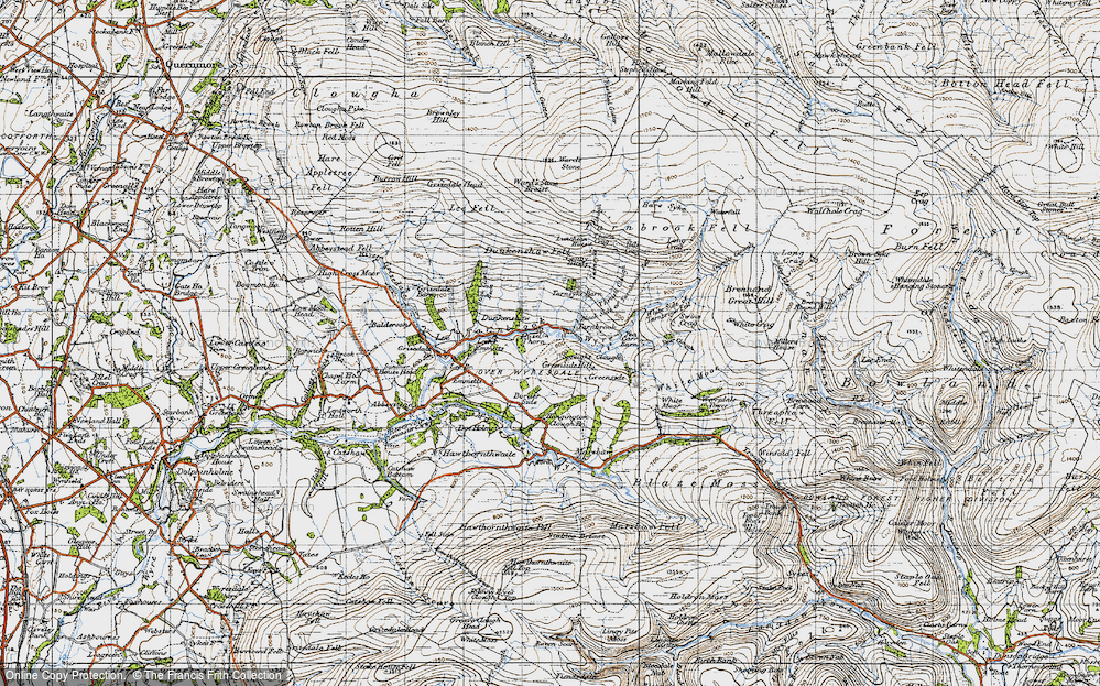Old Map of Historic Map covering White Side of Tarnbrook Fell in 1947