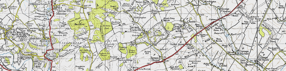 Old map of White Kennels in 1940
