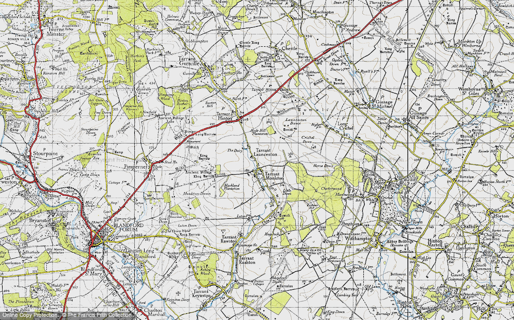 Old Map of Historic Map covering Launceston Down in 1940