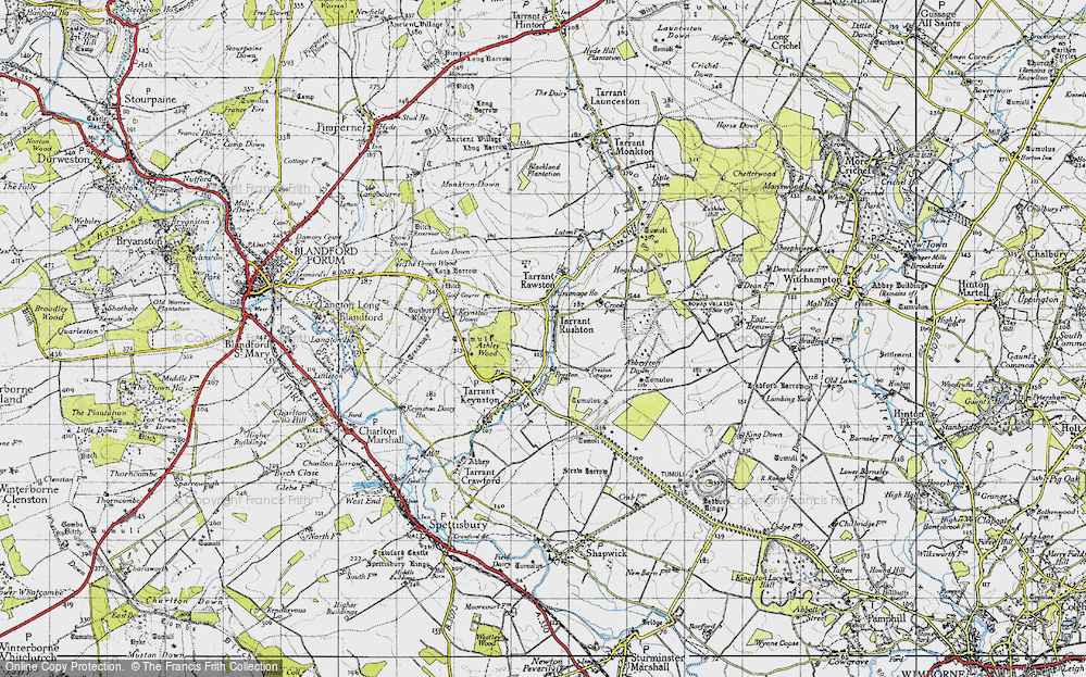 Old Map of Historic Map covering Ashley Wood in 1940