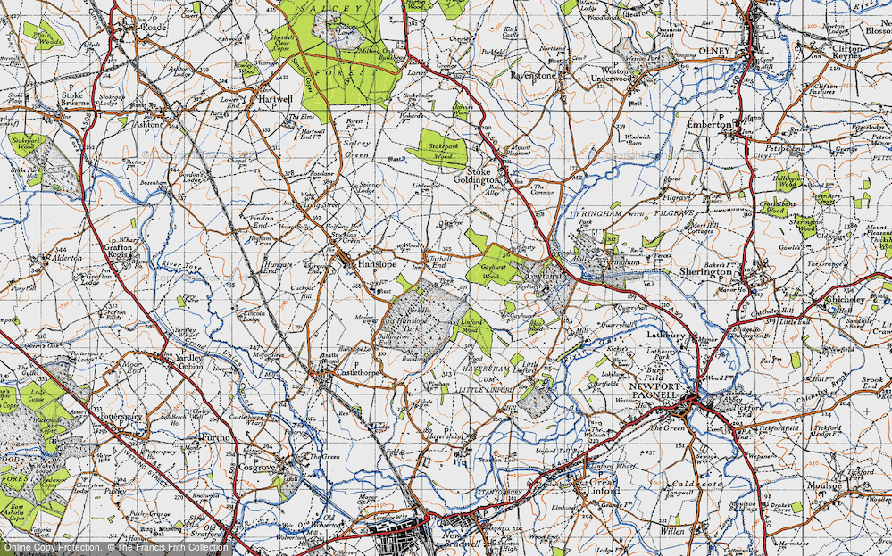 Old Map of Tathall End, 1946 in 1946