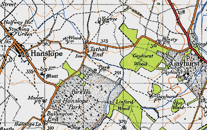 Old map of Tathall End in 1946