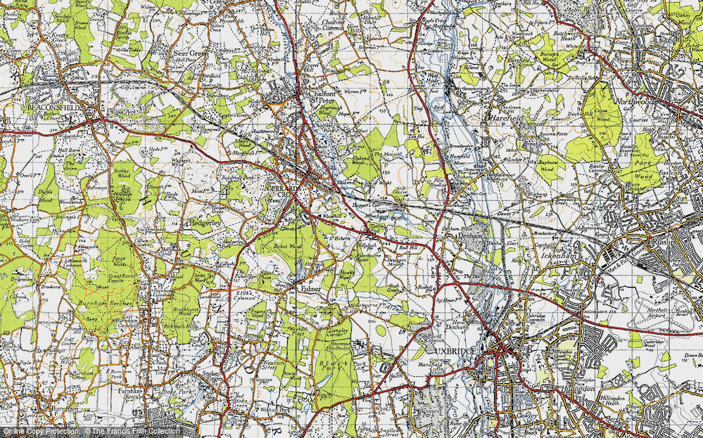 Old Map of Historic Map covering Alderbourne Manor in 1945