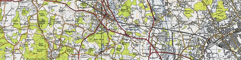 Old map of Alderbourne Manor in 1945