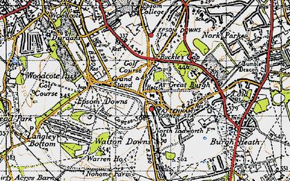 Old map of Tattenham Corner in 1945