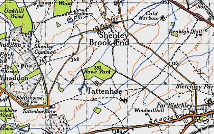 Old map of Tattenhoe in 1946