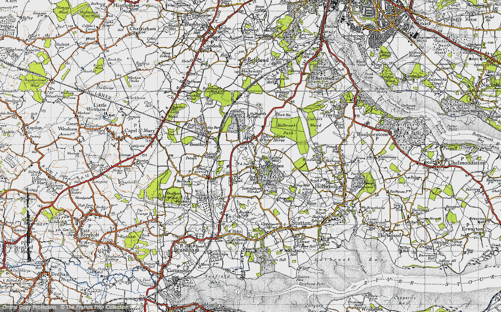Old Map of Historic Map covering Alton Water (Reservoir) in 1946