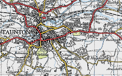 Old map of Taunton in 1946