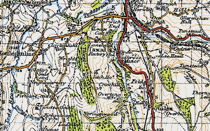 Old map of Windgather Rocks in 1947
