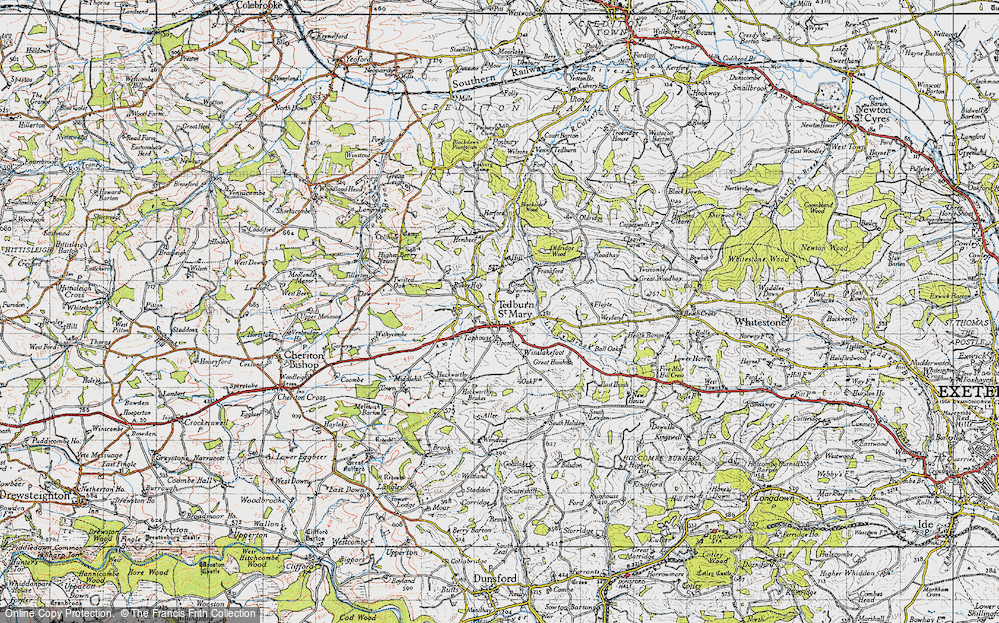 Old Map of Historic Map covering Lilly Brook in 1946
