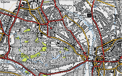 Old map of Teddington in 1945