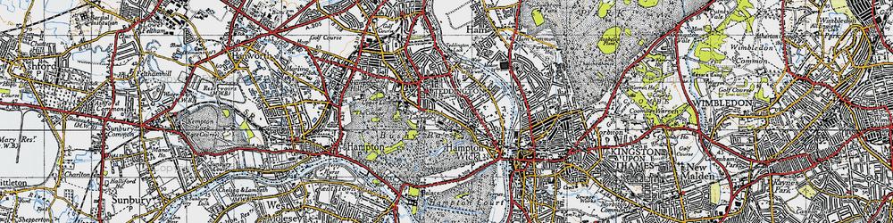 Old map of Teddington in 1945
