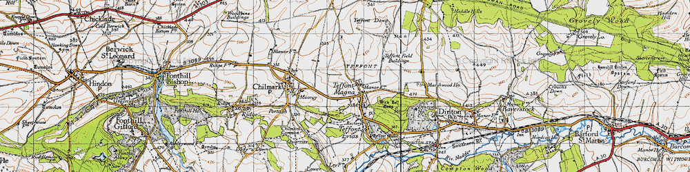 Old map of Teffont Magna in 1940