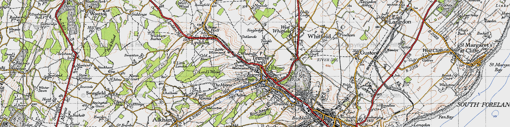 Old map of Woodville in 1947