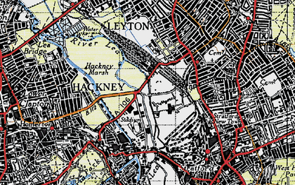 Old map of Temple Mills in 1946