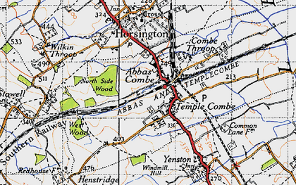 Old map of Templecombe in 1945