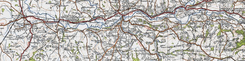 Old map of Tenbury Wells in 1947