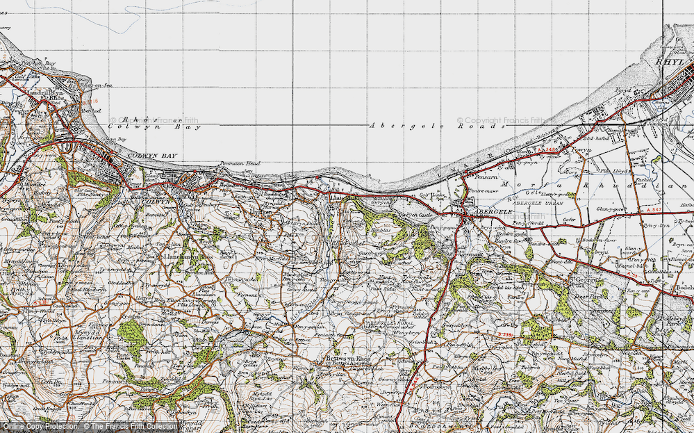 Old Map of Historic Map covering Abergele Roads in 1947