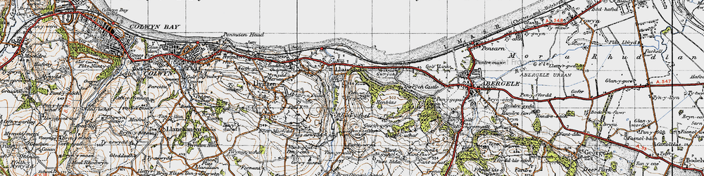 Old map of Abergele Roads in 1947
