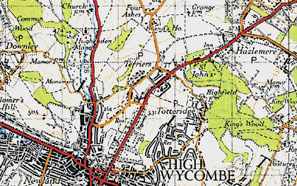 Old map of Terriers in 1947