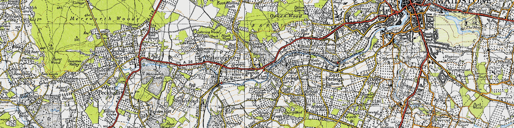 Old map of Teston in 1940