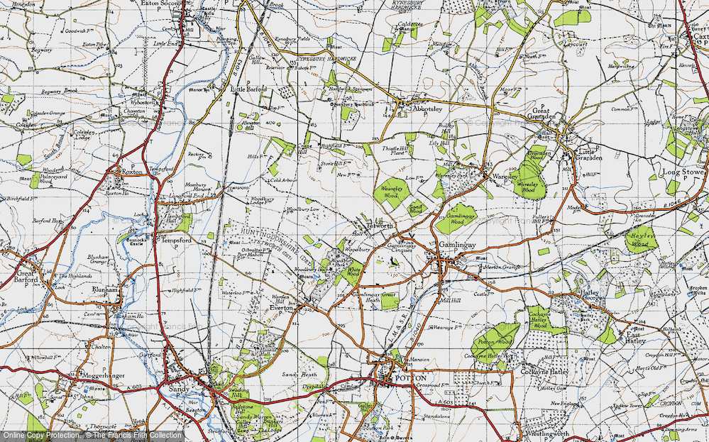 Old Map of Historic Map covering White Wood in 1946