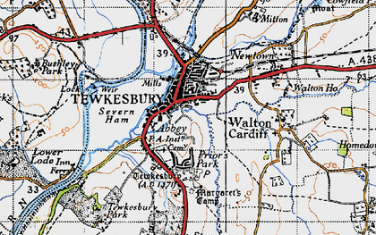 Old map of Tewkesbury in 1946