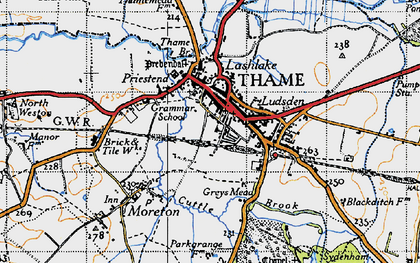 Old map of Thame in 1947