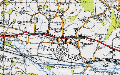 Old map of Thatcham in 1945