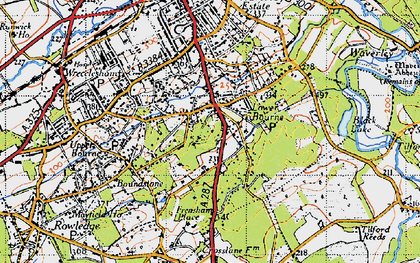 Old map of The Bourne in 1940