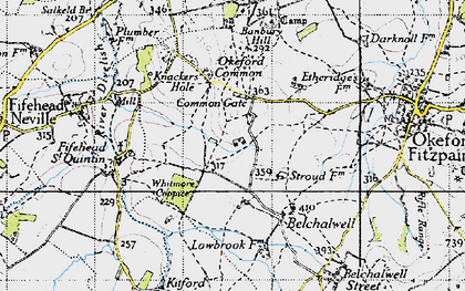 Old map of Banbury Hill (Fort) in 1945