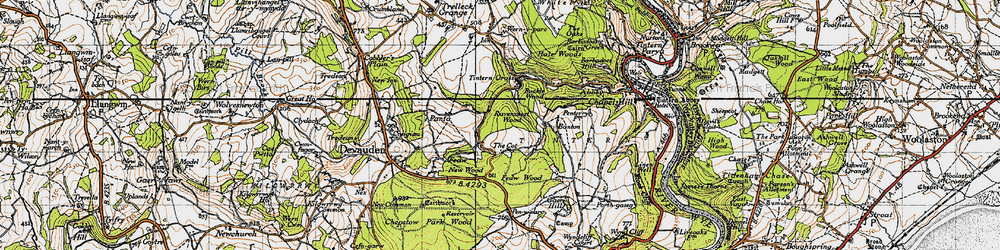 Old map of Tintern Cross in 1946