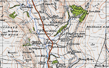 Old map of Ledge Beck in 1947