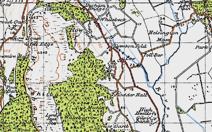 Old map of Whitbarrow Scar in 1947
