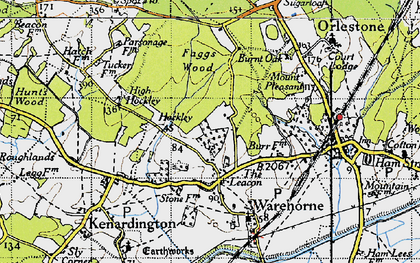 Old map of Orlestone Lodge in 1940