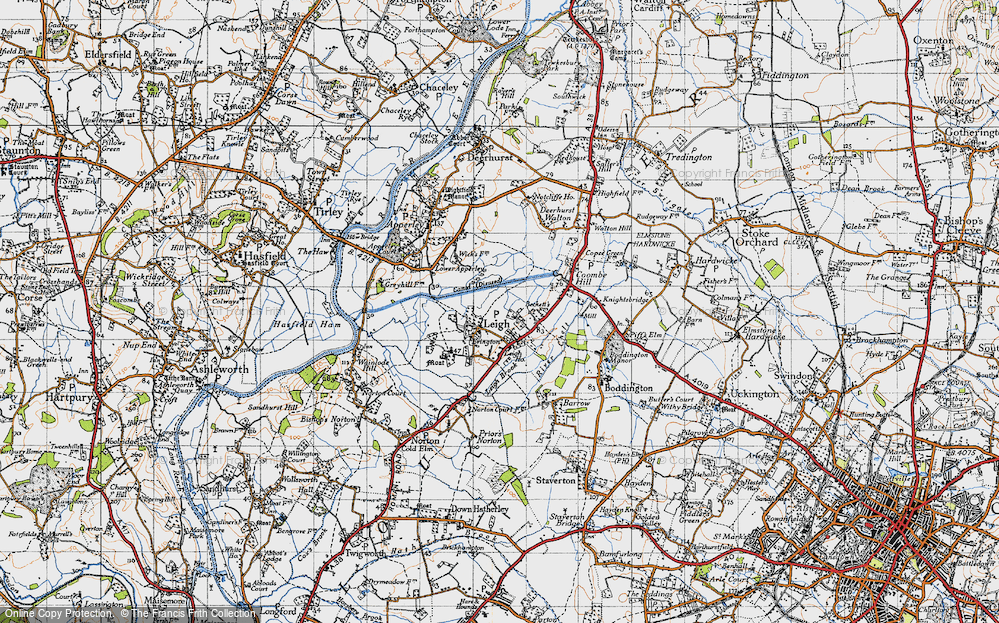 Old Map of Historic Map covering Leigh Ho in 1947