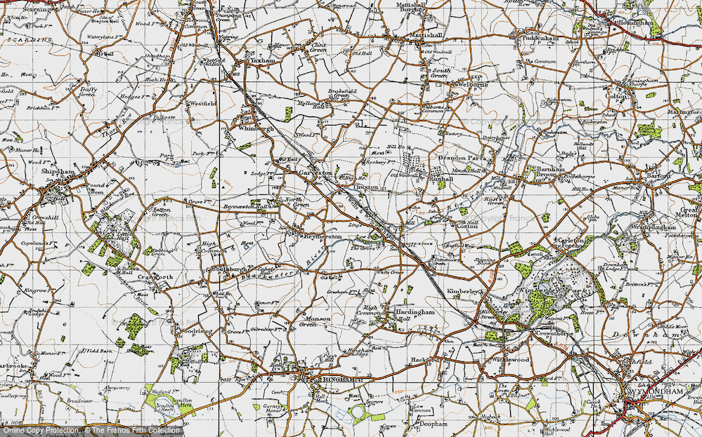 Old Map of Historic Map covering Lings, The in 1946