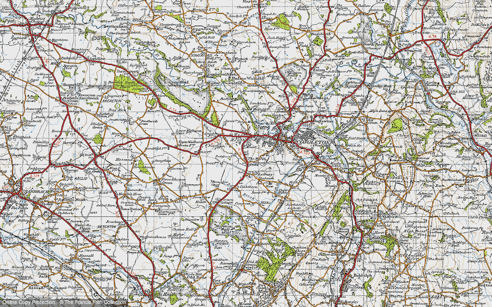 Old Map of Historic Map covering Astbury Mere in 1947