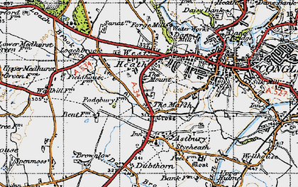 Old map of Astbury Mere in 1947