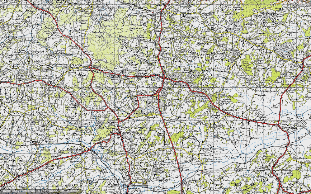 Old Map of Historic Map covering Lillesden in 1940
