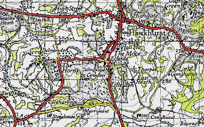 Old map of Lillesden in 1940