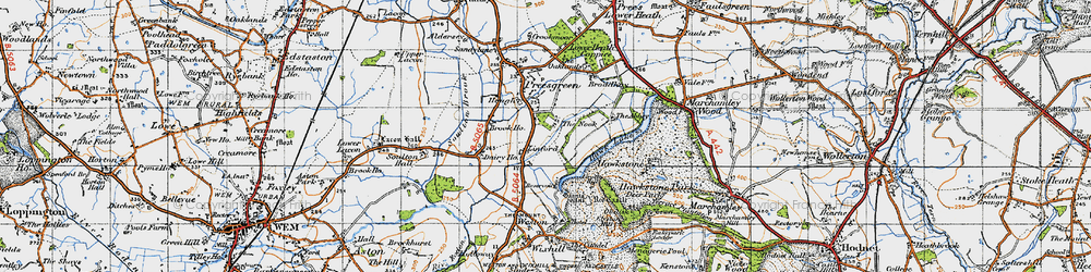 Old map of Hawkstone Park in 1947