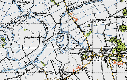 Old map of The Norfolk Broads in 1945