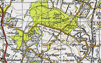 Old map of The Ridgeway in 1946