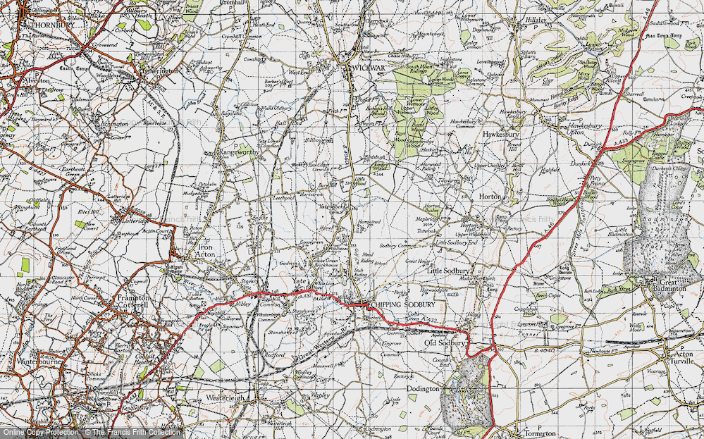 Old Map of Historic Map covering Yate Court in 1946
