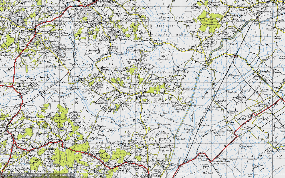 Old Map of Historic Map covering Acton in 1940