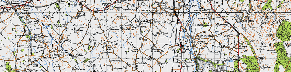 Old map of Wheats, The in 1946