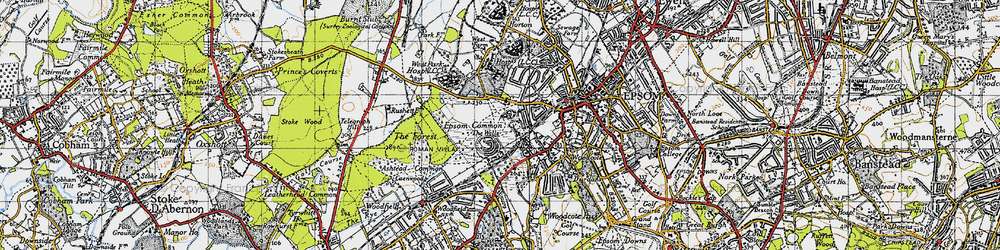 Old map of Woodcote Stud in 1945