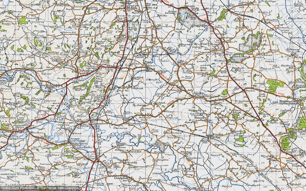 Old Map of Historic Map covering Ley in 1947